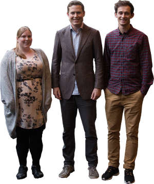 Amy Cotton, Andrew Bailey, and Jonnie Haddon